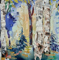 Through The Forest II by Maya Eventov - Original Painting on Stretched Canvas sized 12x12 inches. Available from Whitewall Galleries