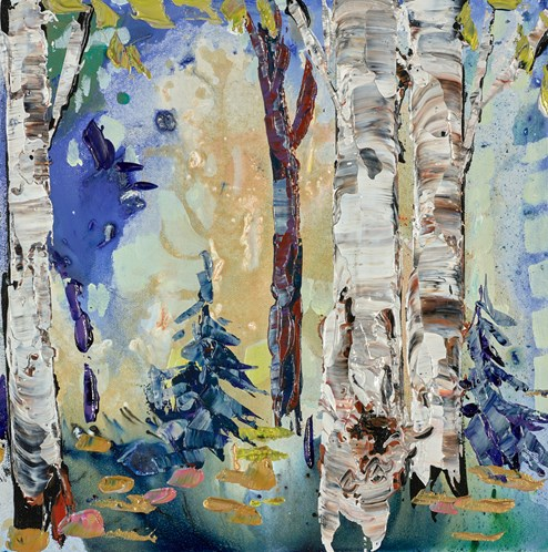 Through The Forest II by Maya Eventov - Original Painting on Stretched Canvas
